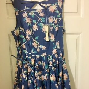 "Lauren Conrad floral print dress. Length is 34"""